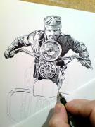 kresba perem, motorkářka