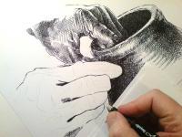 Pohled na vznikající kresbu