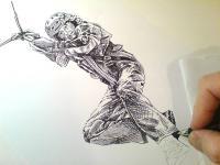 Postava na lanové dráze - pohled na kresbu
