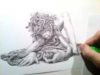 Hadí žena - perokresba