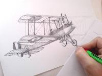 retro letadlo - perokresba