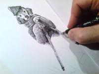 Pes lyžař - kresba