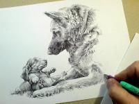 Pes a štěně - kresba