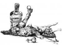 Český lev a Blanický rytíř - pero kresba