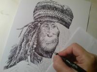 opice - kuřák konopí - kresba perem