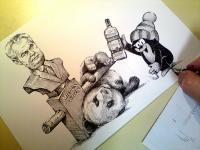 Krteček a panda hledají souznění.... perokresba