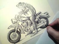 Žába na motorce