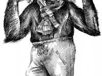 Kresba na sokolské šibřinky - opičák