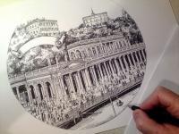Karlovy Vary - kolonáda - perokresba