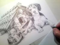Poslední dokončovací tahy u kresby