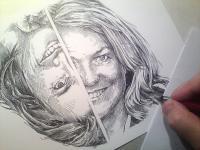 Jana a Hana - dvojportrét - perokresba
