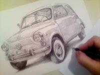Fiat 600D - kresba