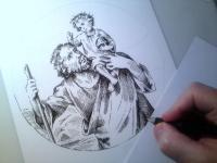 Svatý Kryštof - perokresba