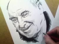 František Šťastný - perokresba