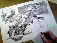 BSA motorka - perokresba