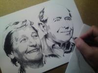 Dana a Emil Zátopkovi - perokresba