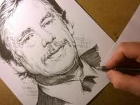 Václav Havel - perokresba
