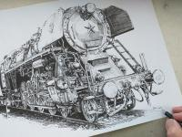 498.104 - Albatros - parní lokomotiva - perokresba
