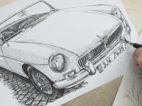 Automobil MG - perokresba