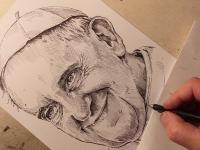 Papež František - perokresba