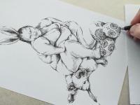 Velikonoční zajíček - perokresba