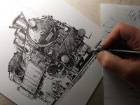 Parní lokomotiva - perokresba