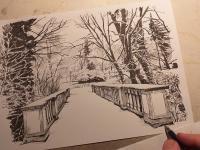 Zimní krajina - perokresba