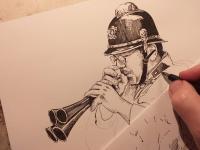 Hasič a hasičská trumpeta - perokresba
