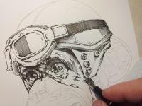 Motorkář opičák - perokresba