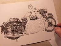 Ariel motocykl - perokresba
