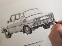 Škoda 100 - perokresba