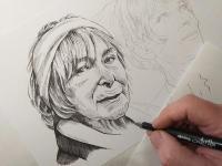 Hana Hegerová - perokresba