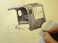 Fordka autoveterán - začátek kresby