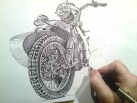 Motoveterán K 750 - začátek kresby
