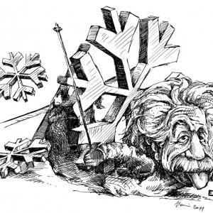 Einstein na lyžích - perokresba