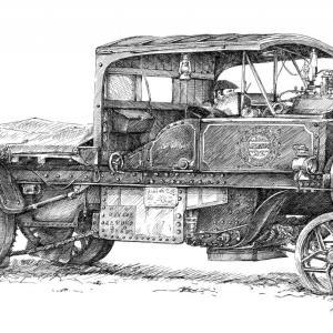 Parní nákladní vůz, parní náklaďák, náklaďák retro, autoveterán - perokresba