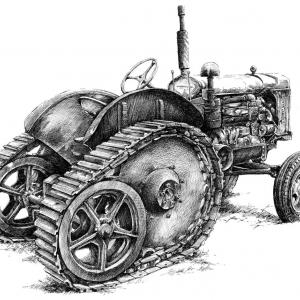 Traktor veterán - perokresba