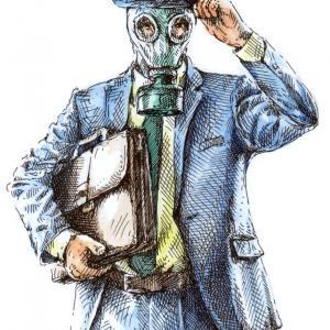 Muž s maskou, plynová maska