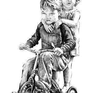 Děti na tříkolce