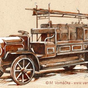 Hasiči, hasičské auto, autoveterán, hasičská stříkačka Praga