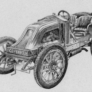 Auto veterán - perokresba