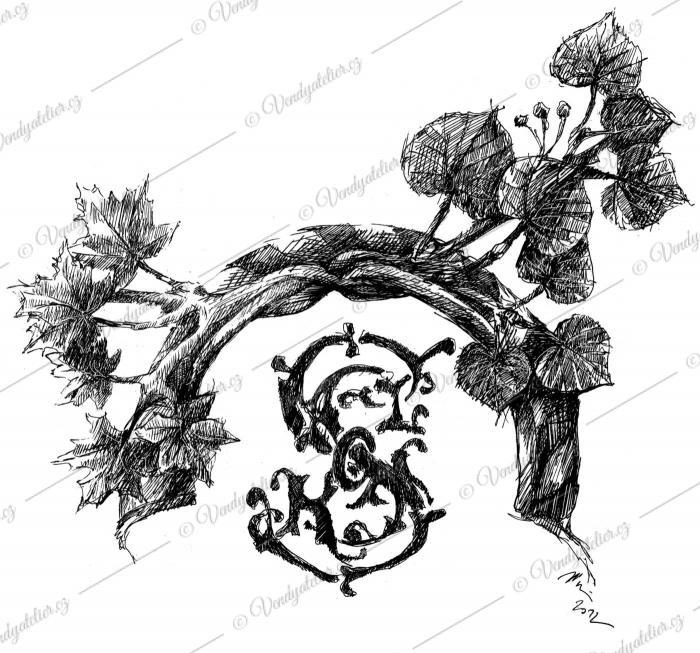 Sokolský znak - perokresba