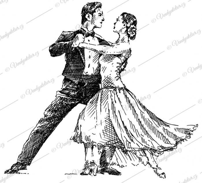 Taneční pár - kresba