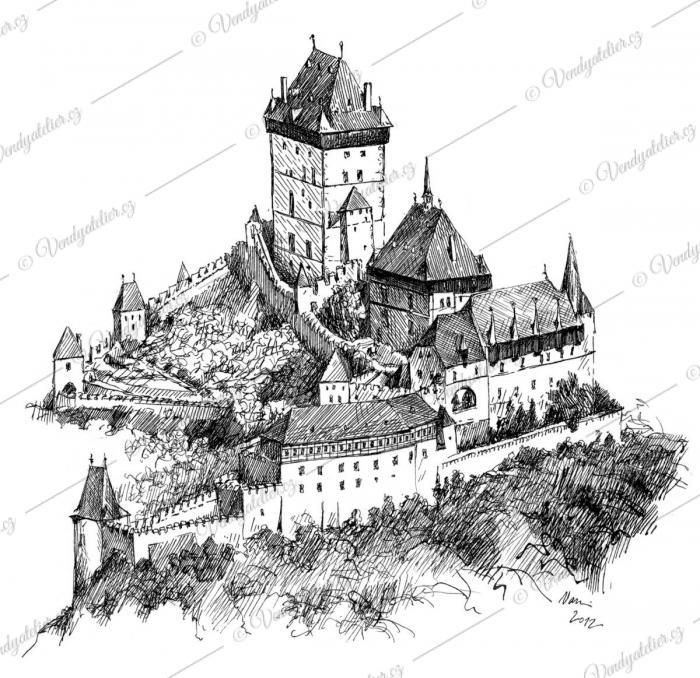 Karlštejn - perokresba hradu