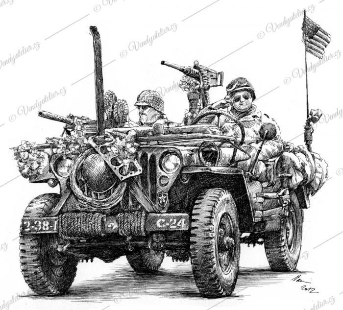 jeep, osvobození Plzně, americká armáda