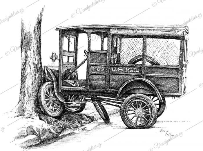 Fordka, poštovní vůz, autoveterán, havárie, old car wrecks
