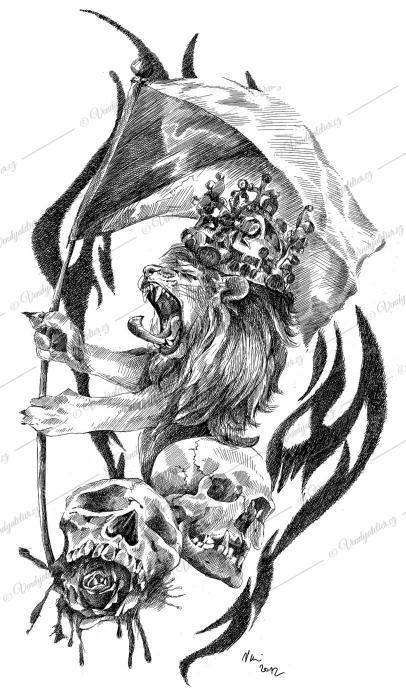 Český lev - tetování