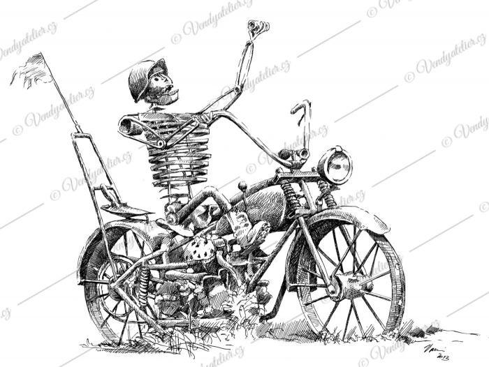 Strašák do zelí - motorkář