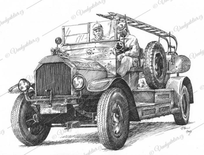 Hasičské auto, hasičská stříkačka, auto veterán