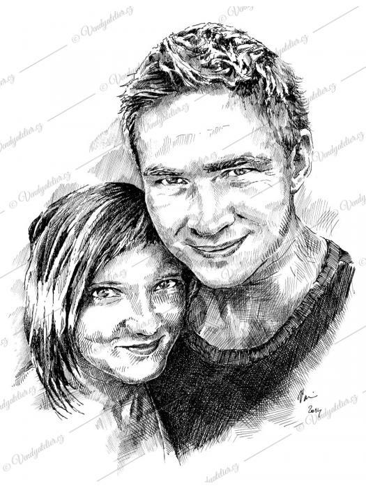 Novomanželé - portrétní perokresba